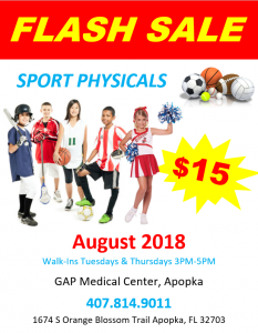 Sports Physical August Flash Sale